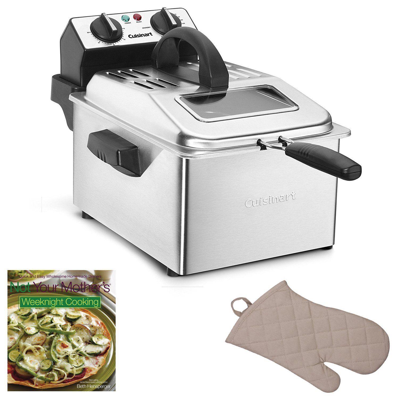 Cuisinart CDF-200 4-Quart Deep Fryer + Oven Mitt & Cookbook, Stainless Steel (Silver) (Cuisinart CDF-200 Deep Fryer Bundle)