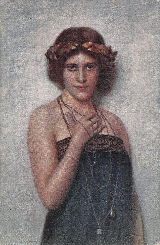 SIGNED POSTCARD MAX NONNENBRUCH  JEUNESSE  ART NOUVEAU/DECO YOUNG LADY PORTRAIT