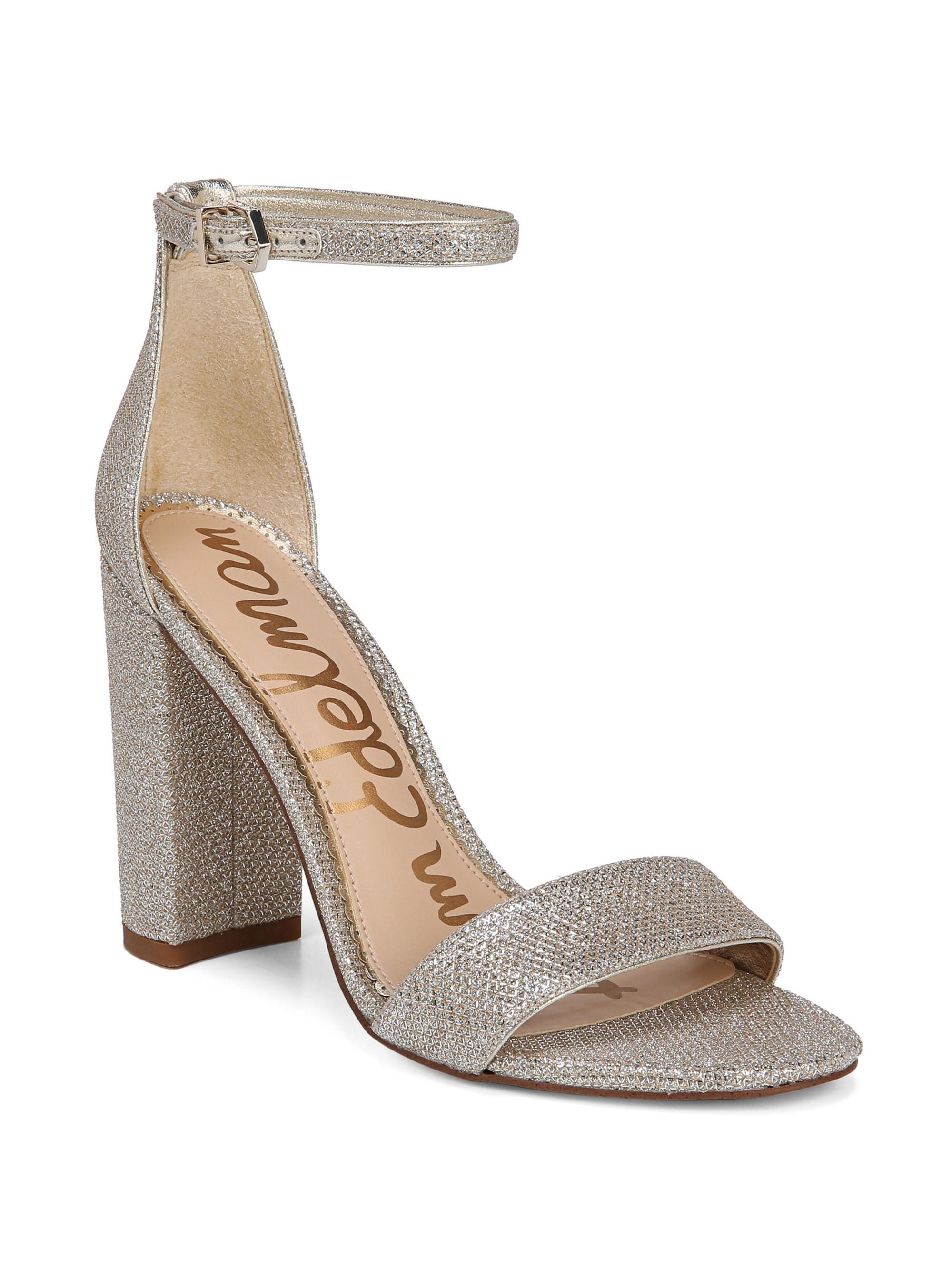 624fbaffe51 Sam Edelman Yaro Metallic Block Heel Sandals - Jute 6