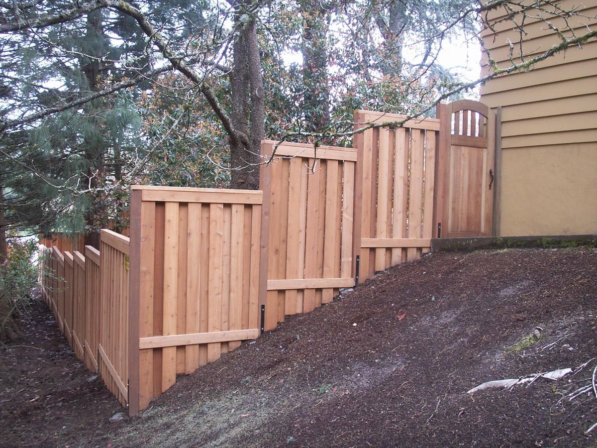 Stepped Sloped Fence Fences In 2019 Wood Fence