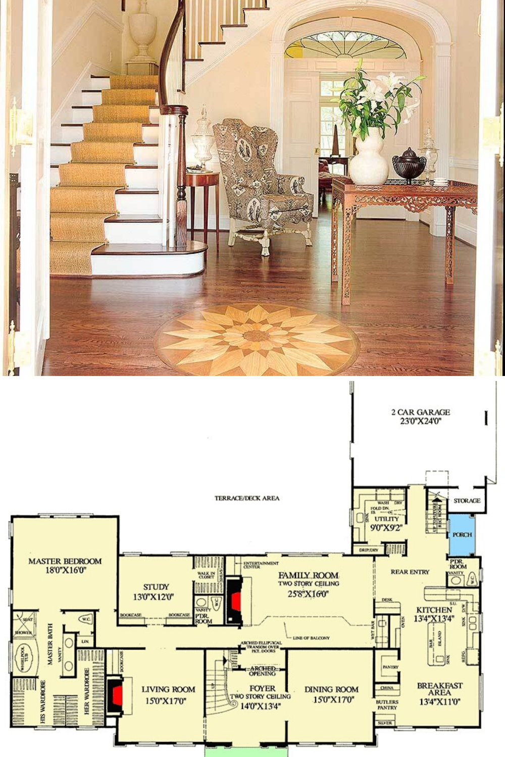 4 Bedroom Two Story Traditional Colonial Home Floor Plan