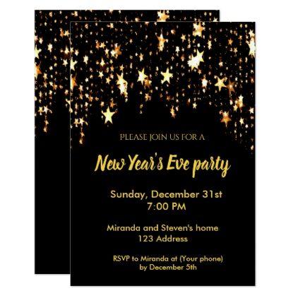 New years eve party black invitation card stars invitation ideas new years eve party black invitation card stars stopboris Gallery