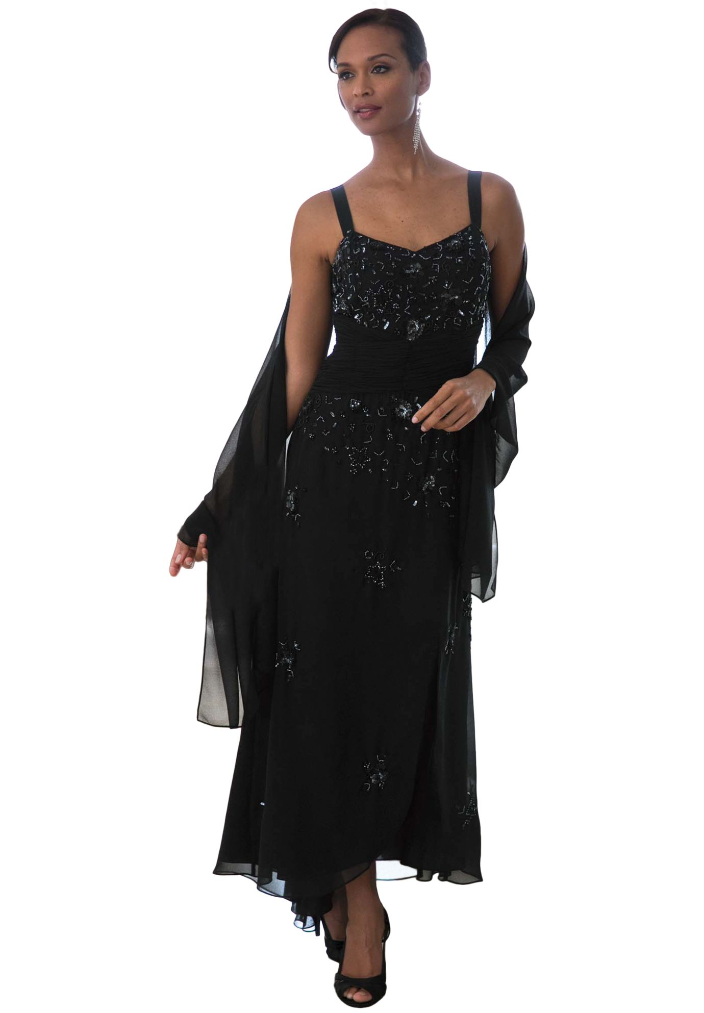 Beaded Dress With Shawl Plus Size Special Occasion Dresses