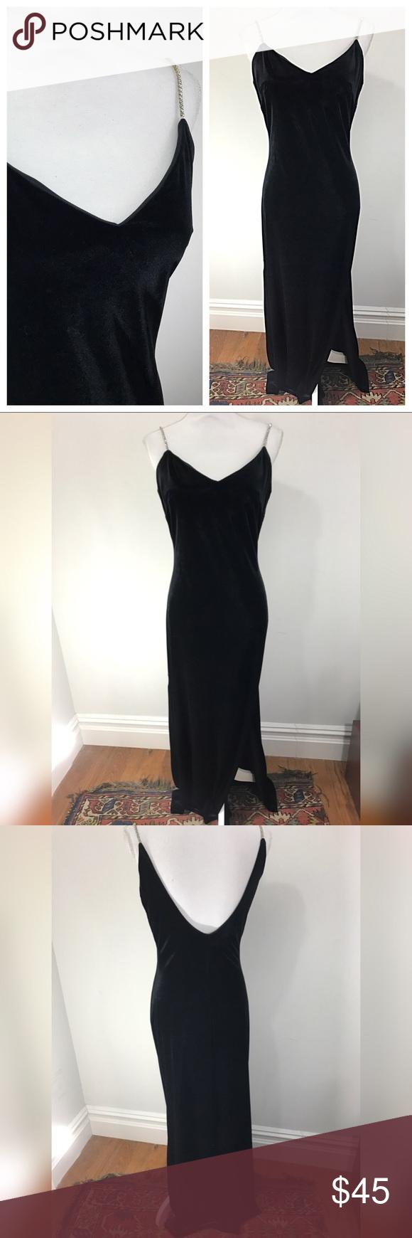 Vintage s velvet prom dress sequin strap vintage dresses dress