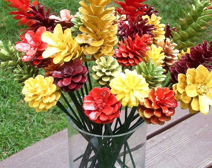 Pine Cone Flowers, Spring. Painted Pine Cones on 12-inch Wood Stems. One dozen. Bouquet, Mother's Day, Valentine's Day, Easter, Gifts #pineconeflowers