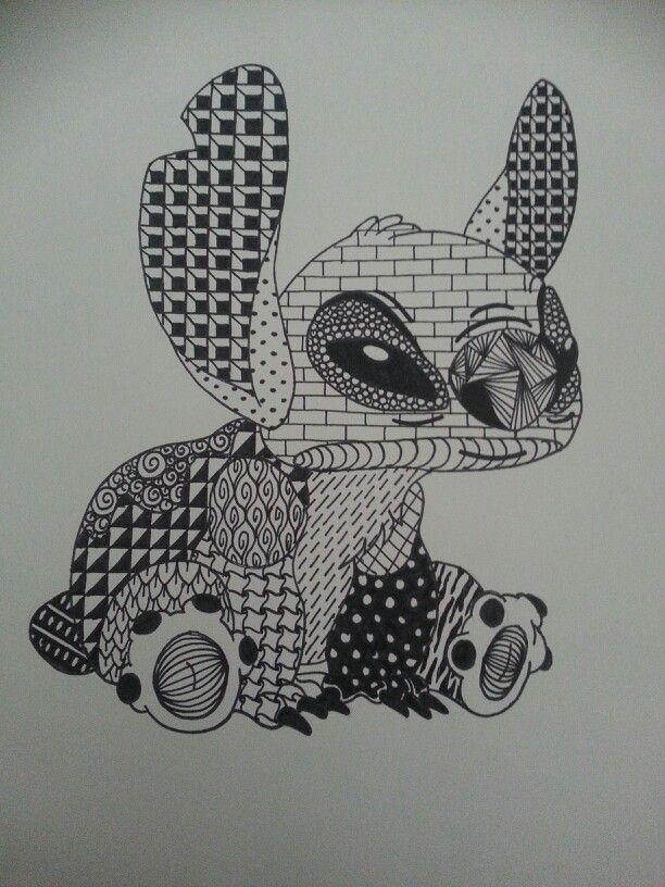 Disney Zentangle Coloring Pages : Disney s stitch zentangle by andrea henriquez