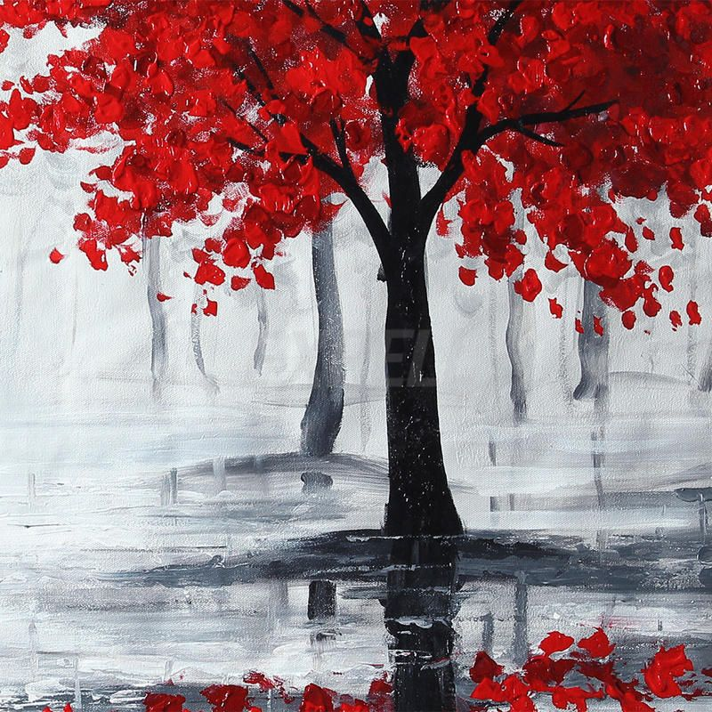 Peinture l huile tableau abstraite feuille rouge arbre for Toile abstraite