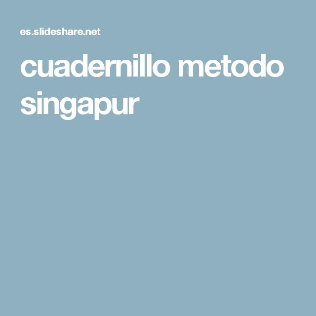Cuadernillo Metodo Singapur Singapur Cuadernos Matematicas Infantil