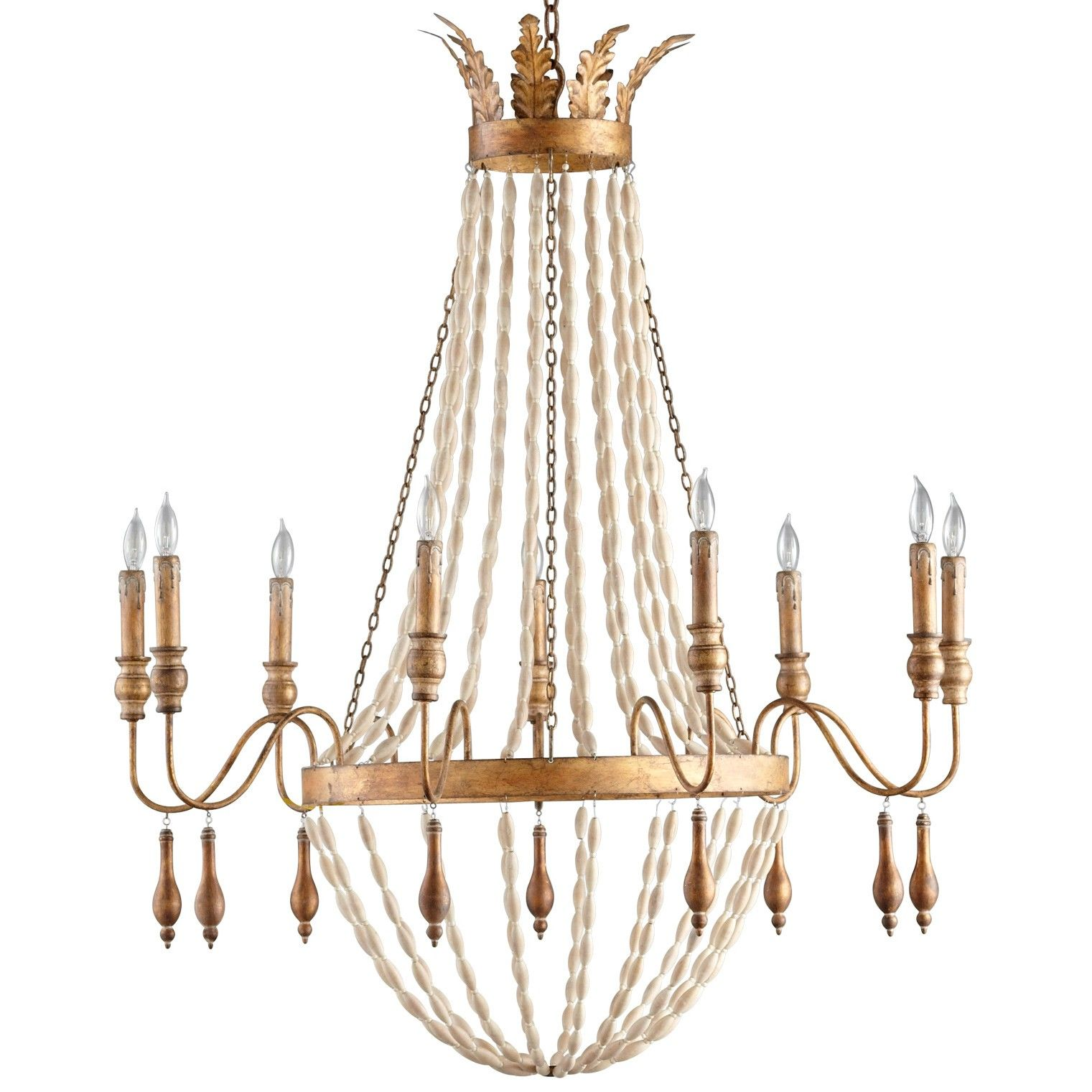 alexandra 9 light chandelier by cyan wrought iron and wood with gold finish - Cyan Canopy Interior