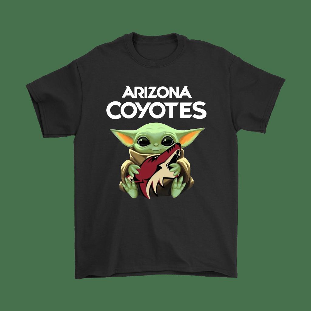 Baby Yoda Hugs The Arizona Coyotes Ice Hockey Shirts - NFL T-Shirts Store   Star Wars Theme– Ba