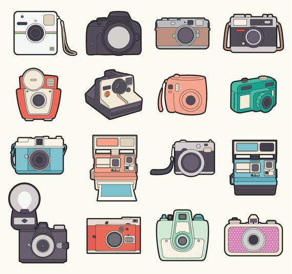 Premium Vektor Clipart - Kawaii Kamera Clipart - Kawaii Kameras ClipArt Set - hochwertige Vektoren - süße Kamera Clipart - Instant Download #decorateshop