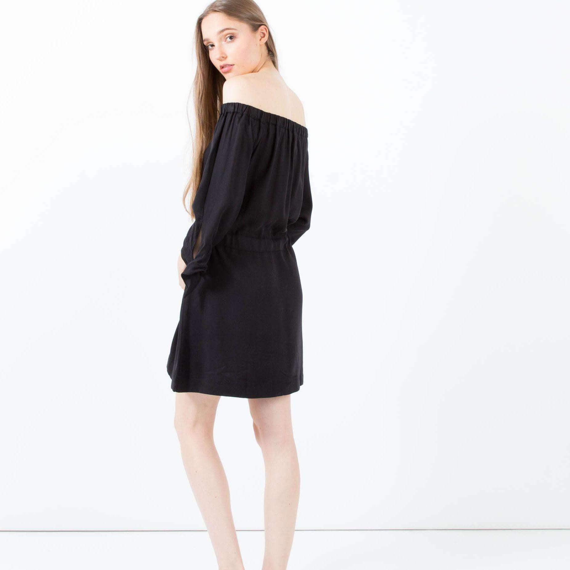 Black modern dress - Marjan Gathered Off Shoulder Dress Black Modern Citizen