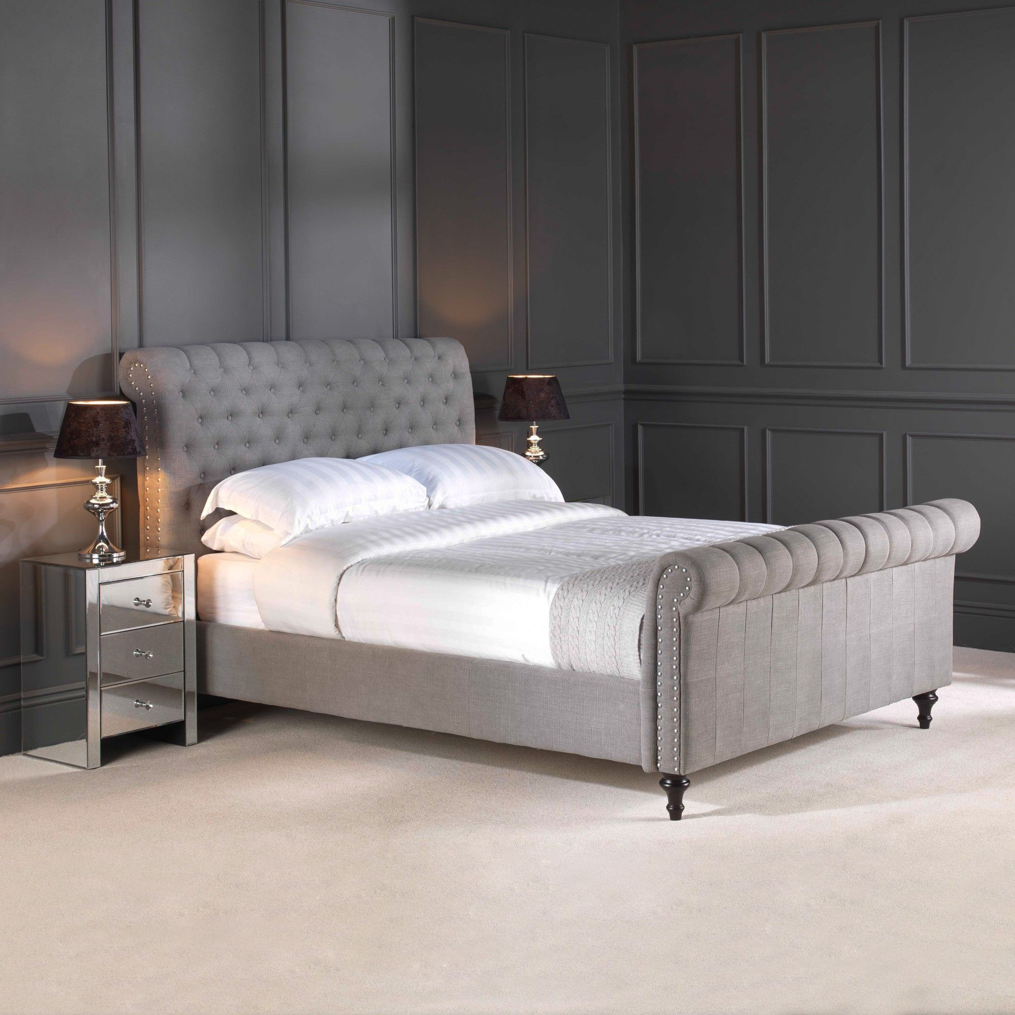 GO1142S-5 King Size Steel Premium Linen Upholstered Chesterfield Bed ...