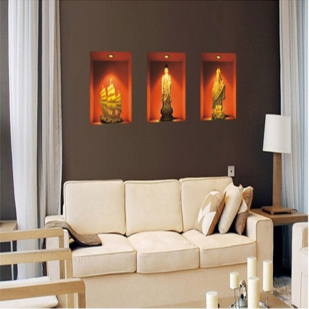 3d buddha painting room decor fake window removable on wall stickers 3d id=97132