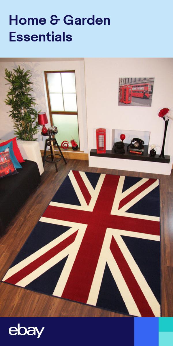 Quality Blue Red Union Jack Flag Print Rug 120cm x 170cm
