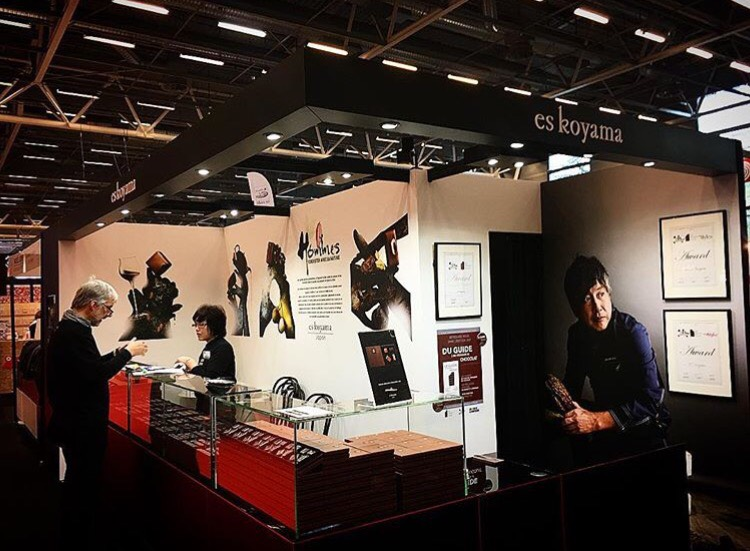 Construction du stand es koyama salon du chocolat paris for Salon paris porte de versailles