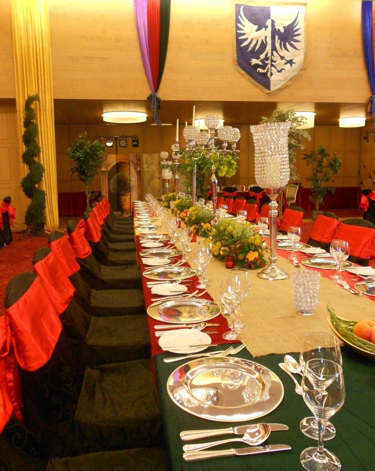 A dramatic table setting at a medieval themed banquet at The Europe Hotel \u0026 Resort & A dramatic table setting at a medieval themed banquet at The Europe ...
