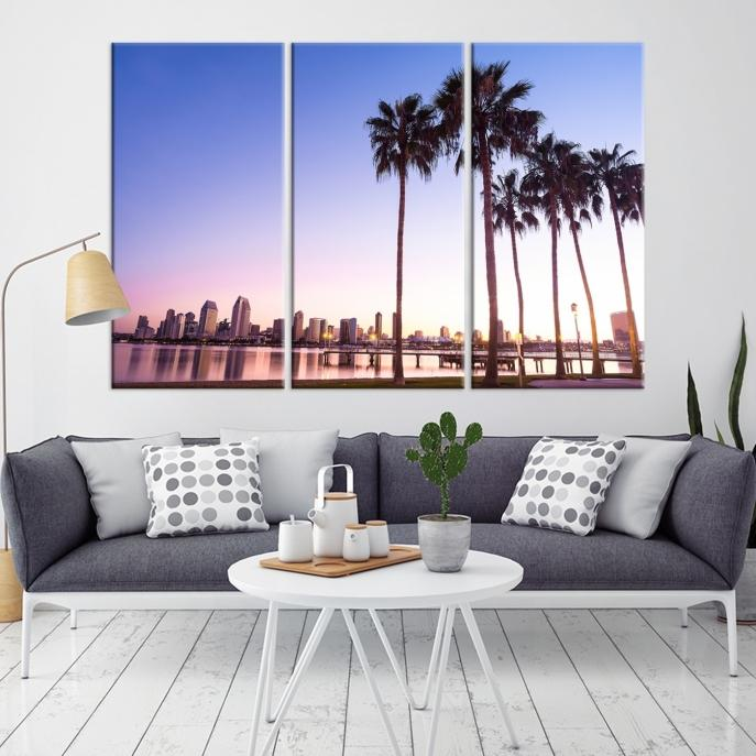 90117 - San Diego Background with Palm Trees Wall Art Canvas Print ...