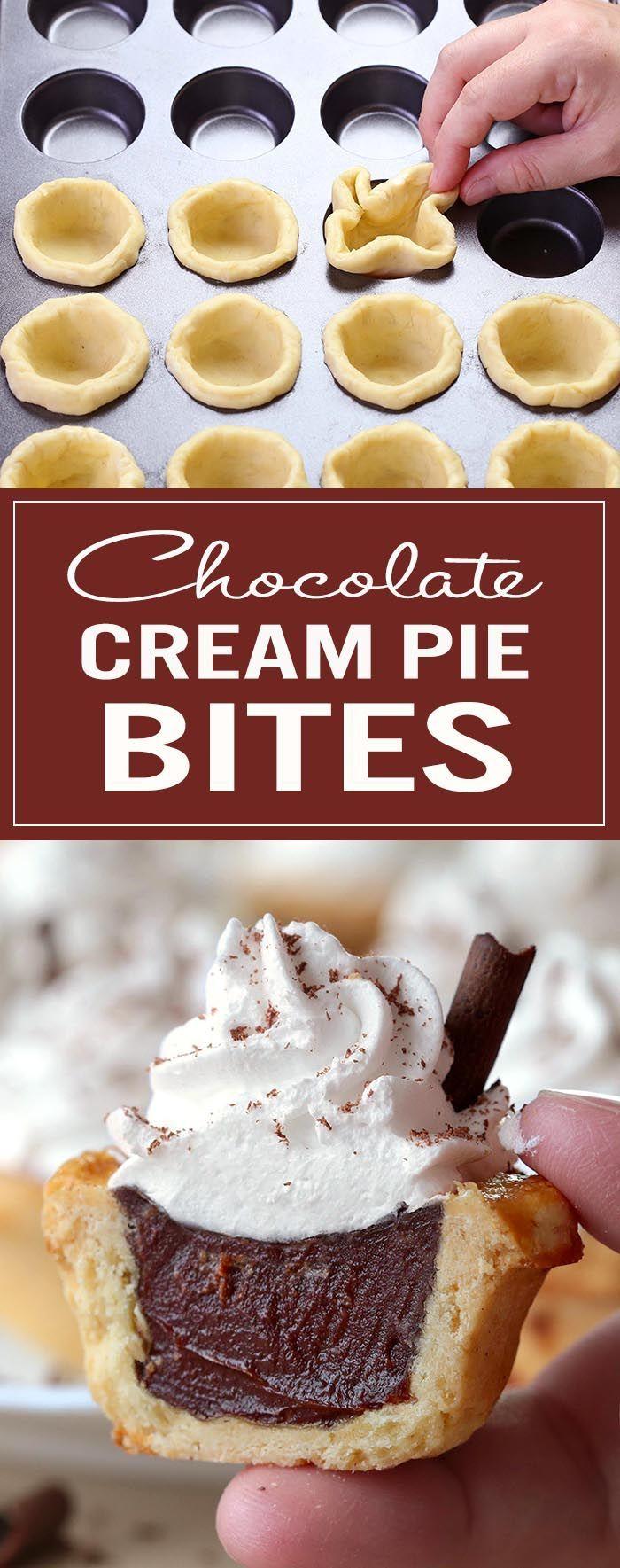chocolate cream pie bites | recipe | chocolate cream, bite size