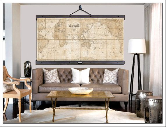 Vintage pull down map world map on canvas 1910 60w x 40h school pull down map world map on canvas 1910 60w x 40 gumiabroncs Images