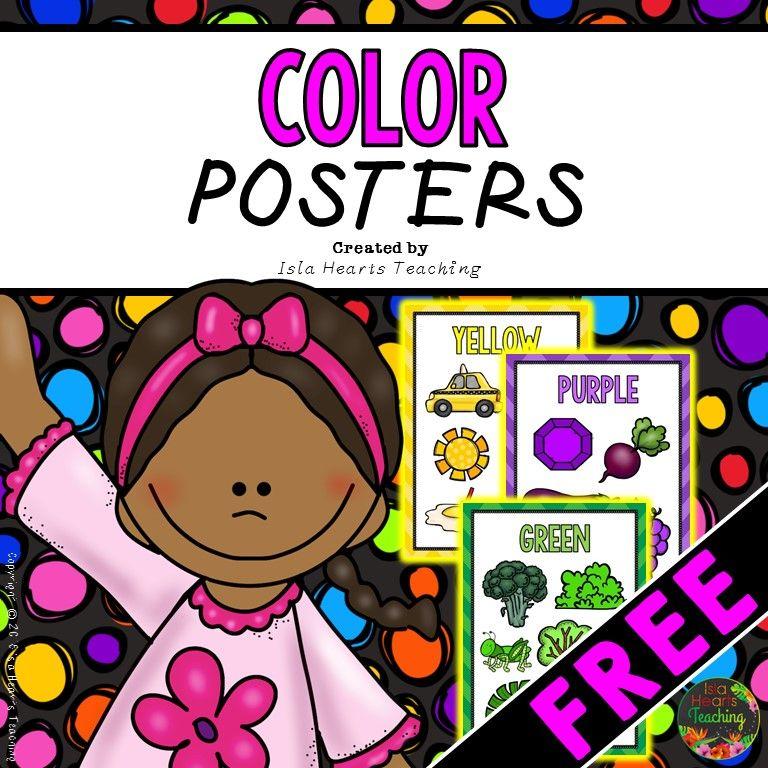 Color Posters Free Preschool Colors Poster Colour Kindergarten Freebies