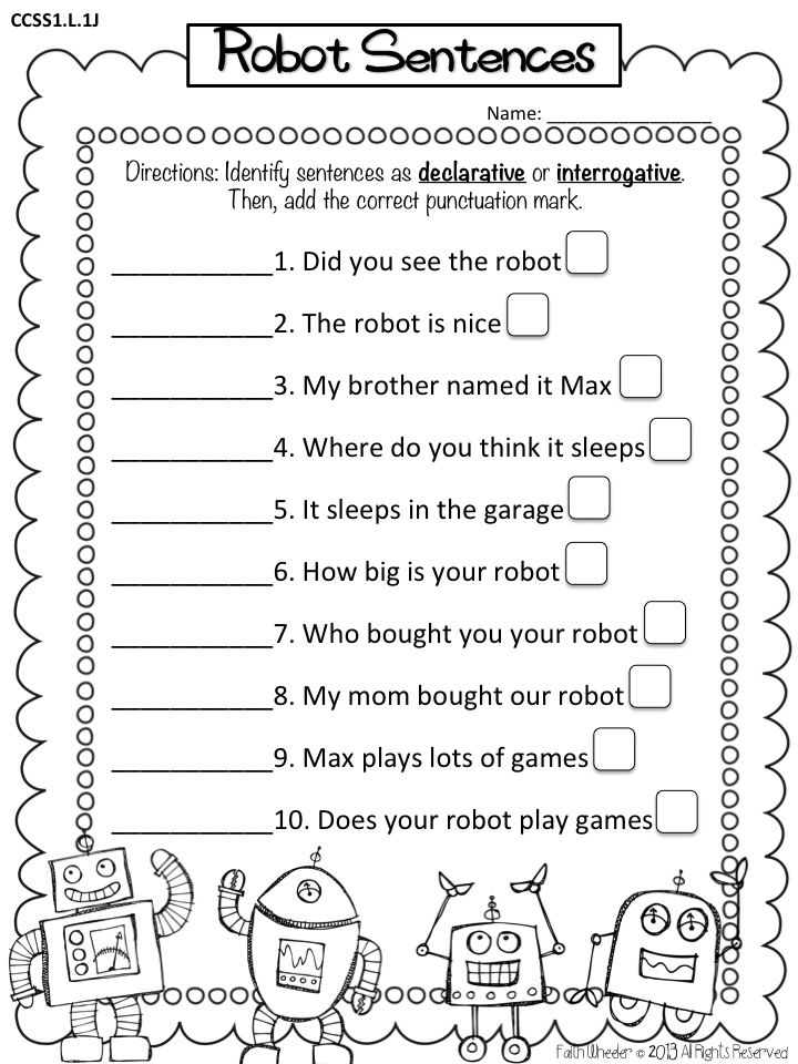1st Grade Grammar Worksheets : Types of sentences declarative interrogative freebie