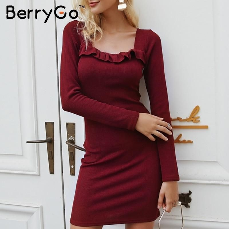 d705c5f7a8aef BerryGo Vintage square neck knitted sweater dress women Sexy ruffle ...