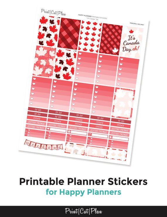 Oh canada set happy planner printable planner by printcutplanshop