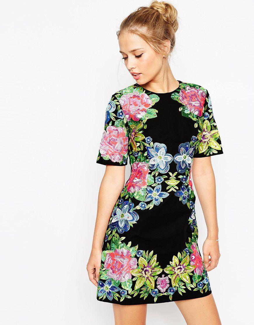 Image of asos premium embroidered shift dress anne d pinterest