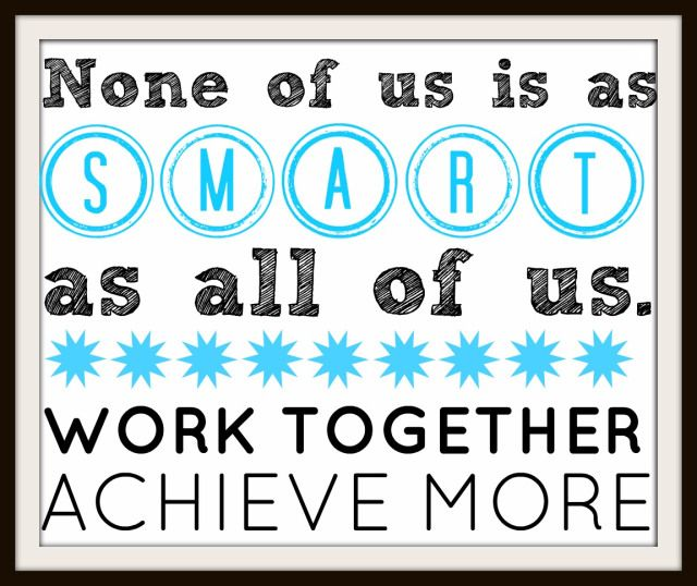 Free printable poster for teamwork motivation at work or for Home construction quotes
