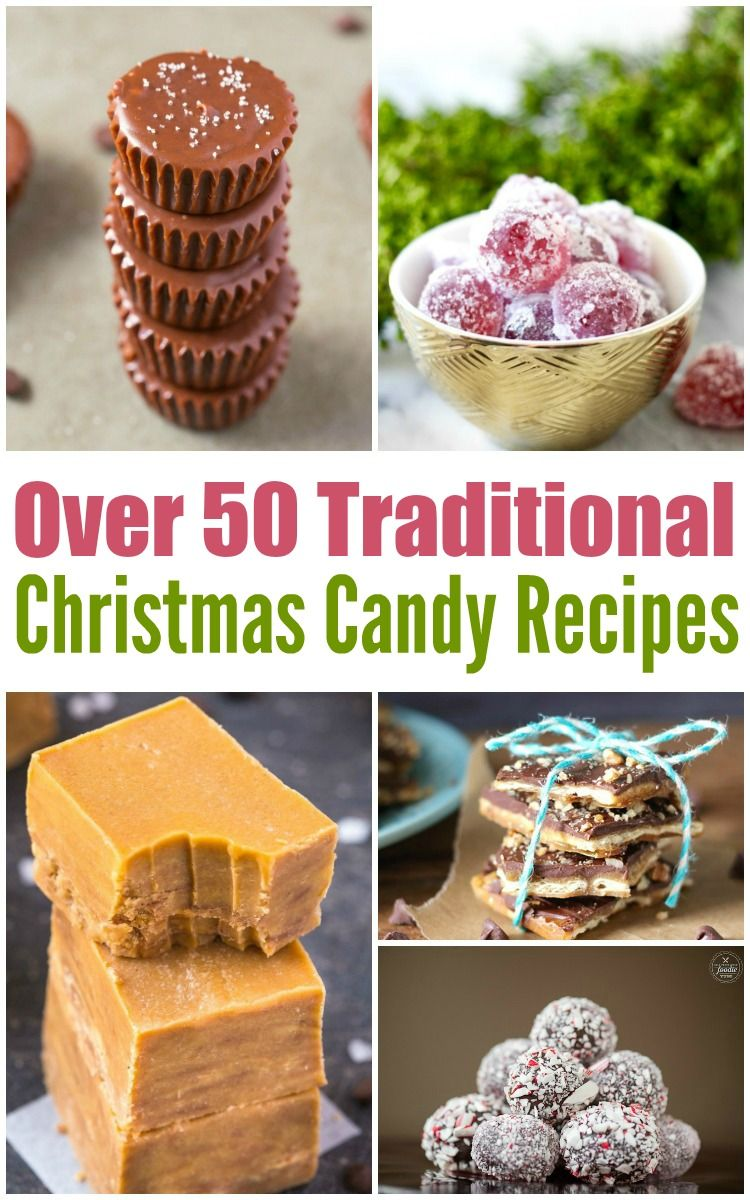 Over 50 Traditional Christmas Candy Recipes like truffles, barks, brittles, jellies and other delicious candies that would be perfect for this years gift exchange or holiday gathering.