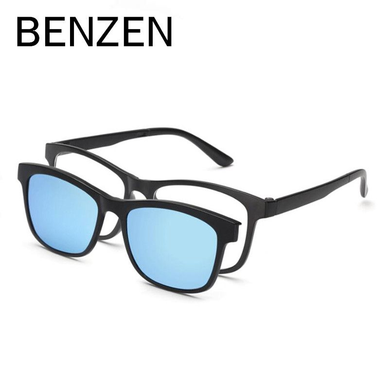 eced61dfa3 BENZEN Men Polarized Magnetic Clip Glasses TR Male Driving Clip On Sunglasses  Magnet Myopia Glasses Frame With Case 9139