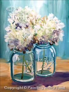 Painting With A Purpose Vera Bradley Houston Tx Galleria Westchase Painting Class Painting With A Twist Hydrangea Painting