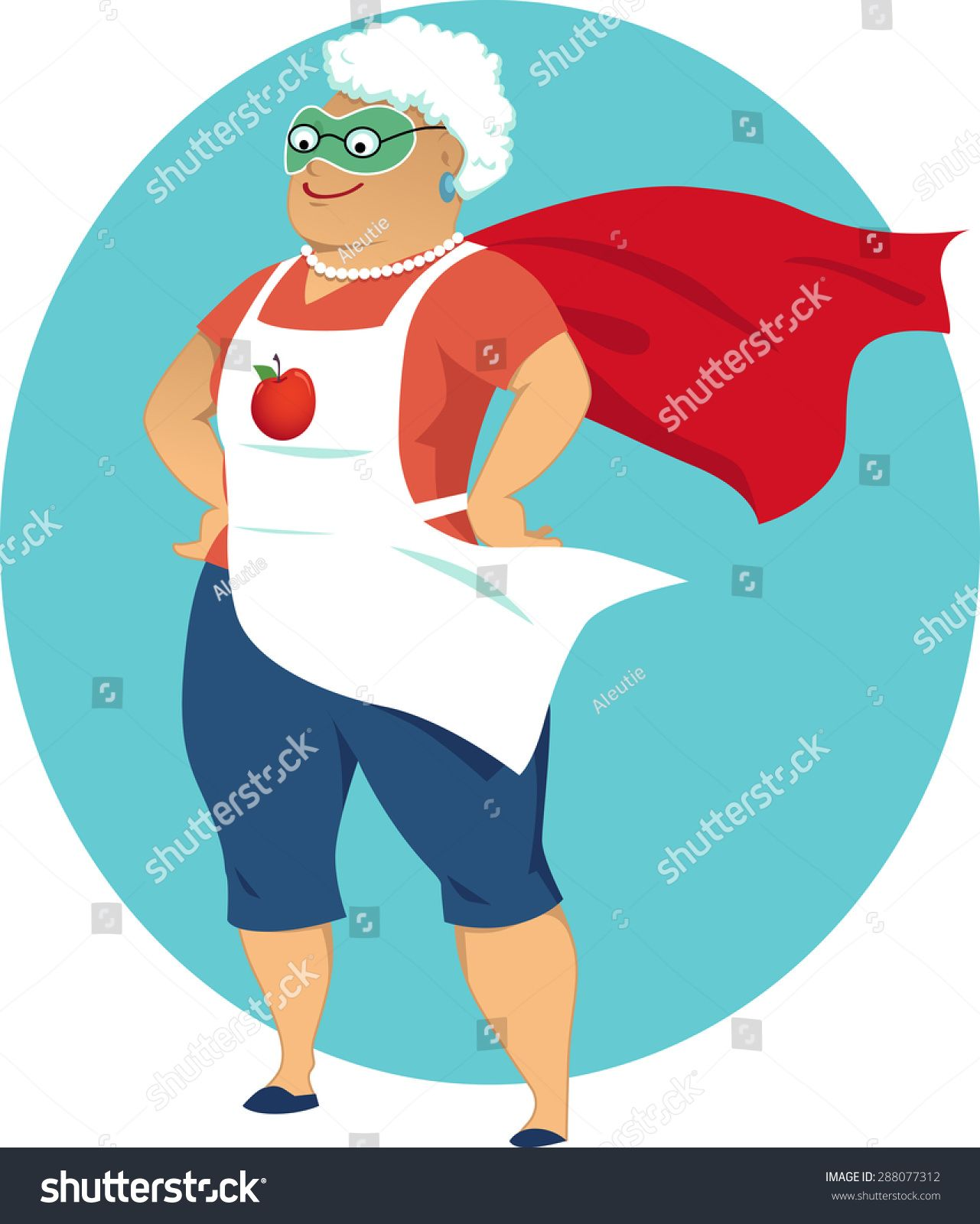 Super grandma, cartoon old lady in an apron and a superhero