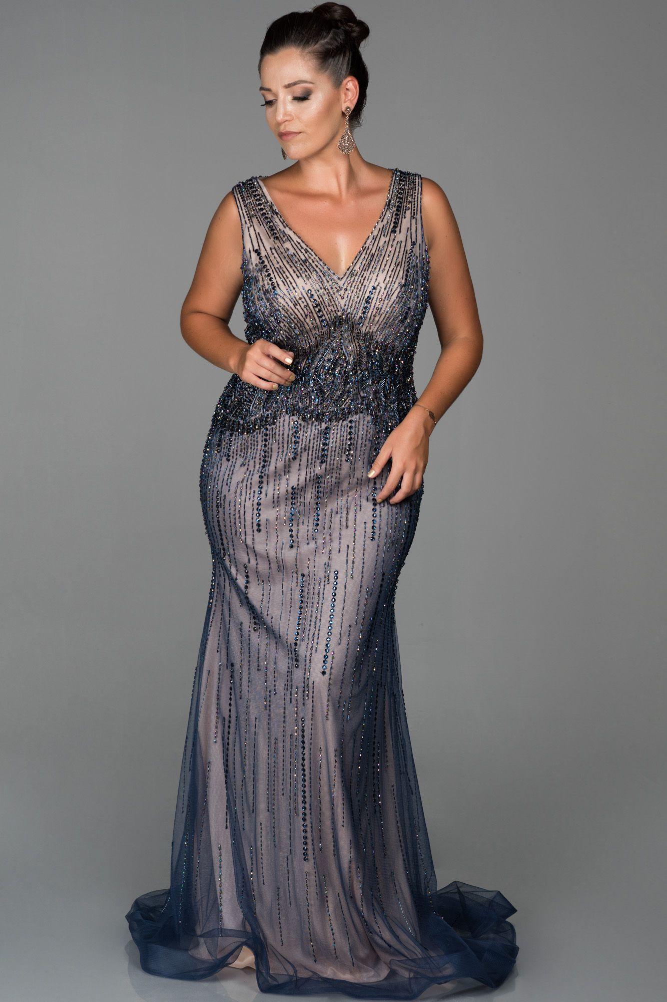 Lacivert Tasli V Yaka Buyuk Beden Abiye Abu242 Elbise Modelleri Elbise Moda Stilleri