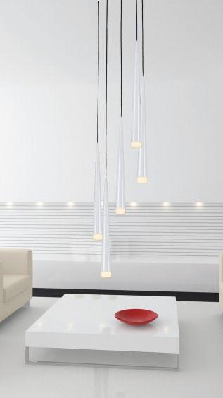 Biała lampa wisząca w stylu minimalistycznym. #mlamp #oświetlenie #lampa #lampy #stylminimalistyczny #wyposażeniewnętrz
