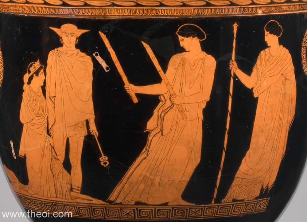 Return Of Persephone Attic Red Figure Vase Painting Fire My