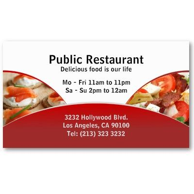 Business card design for restaurants and catering services for Catering business cards samples