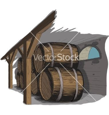 Old wine cellar with rows of barrels vector 515111 - by sharpner on VectorStock®