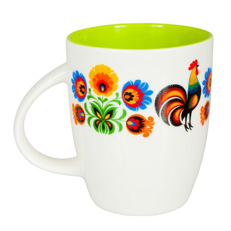 Folkstar Kubek Folk Design Z Ludowymi Kwiatami I Kogutami Zielony Folkstar Pl Glassware Mugs Design