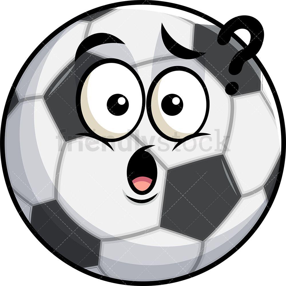 Confused Soccer Ball Emoji Cartoon Clipart Vector Friendlystock Emoji Clipart Emoji Soccer Ball
