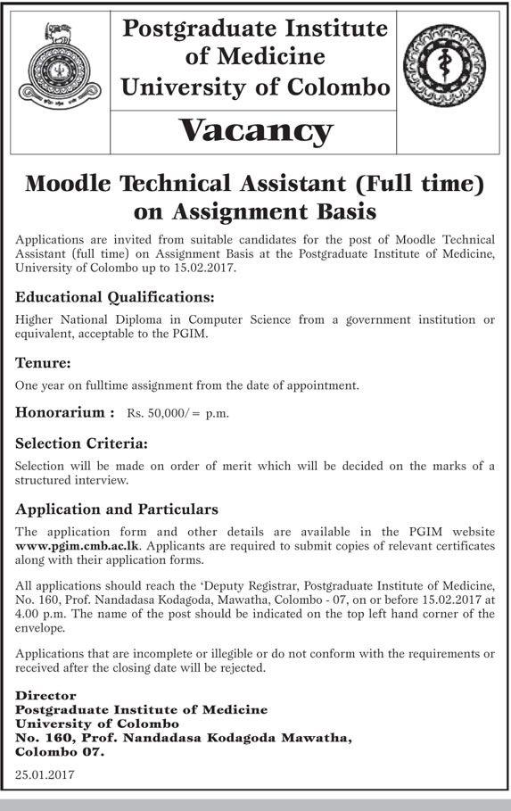 Moodle Technical Assistant at Postgraduate Institute of Medicine - technical director job description