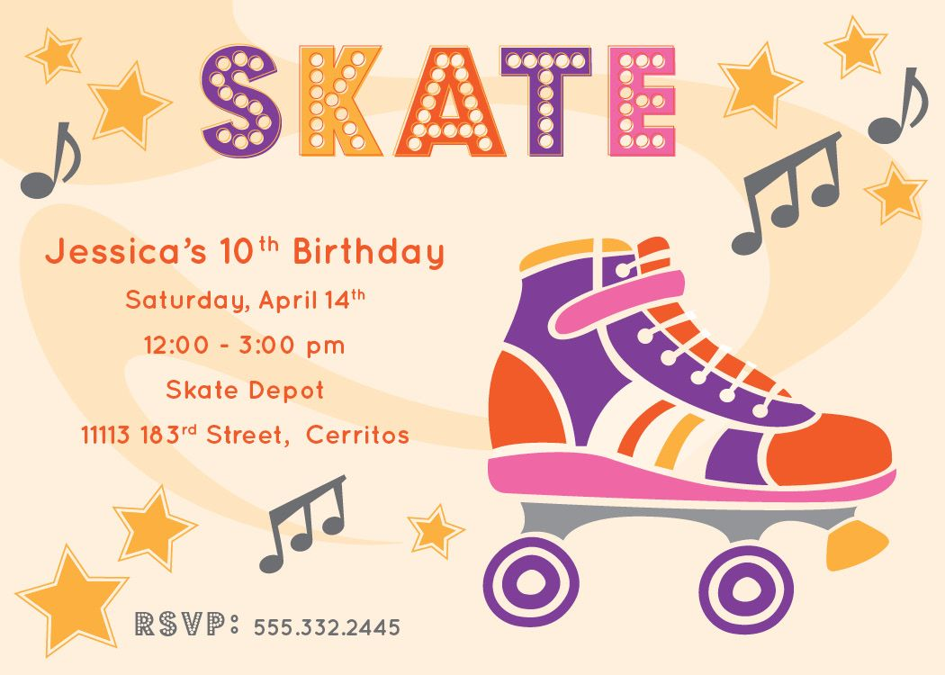 Free Printable Roller Skating Party Invitations | Laylas Birthday ...