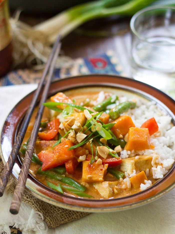 Vegan massaman curry with sweet potatoes and tofu vegan eats crispy pan fried tofu veggies and sweet potato chunks are simmered in a peanutty thai spiced coconut curry sauce to create this vegan massaman curry forumfinder Choice Image