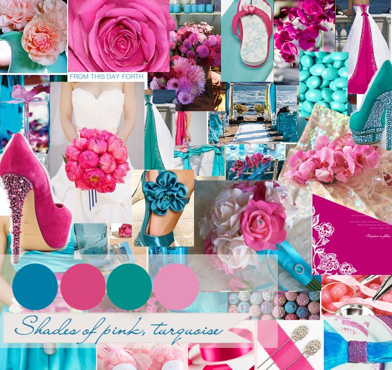 Ring In A Spicy Hot Palette Of Colors That Go With Orange: Pink And Turquoise Centerpieces