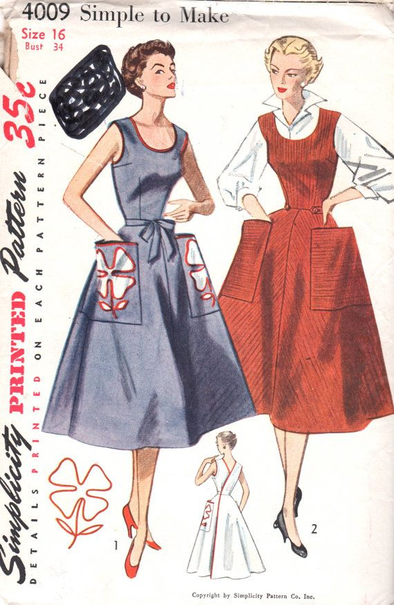Simplicity 4009 1950s Simple To Make Misses Wrap Around