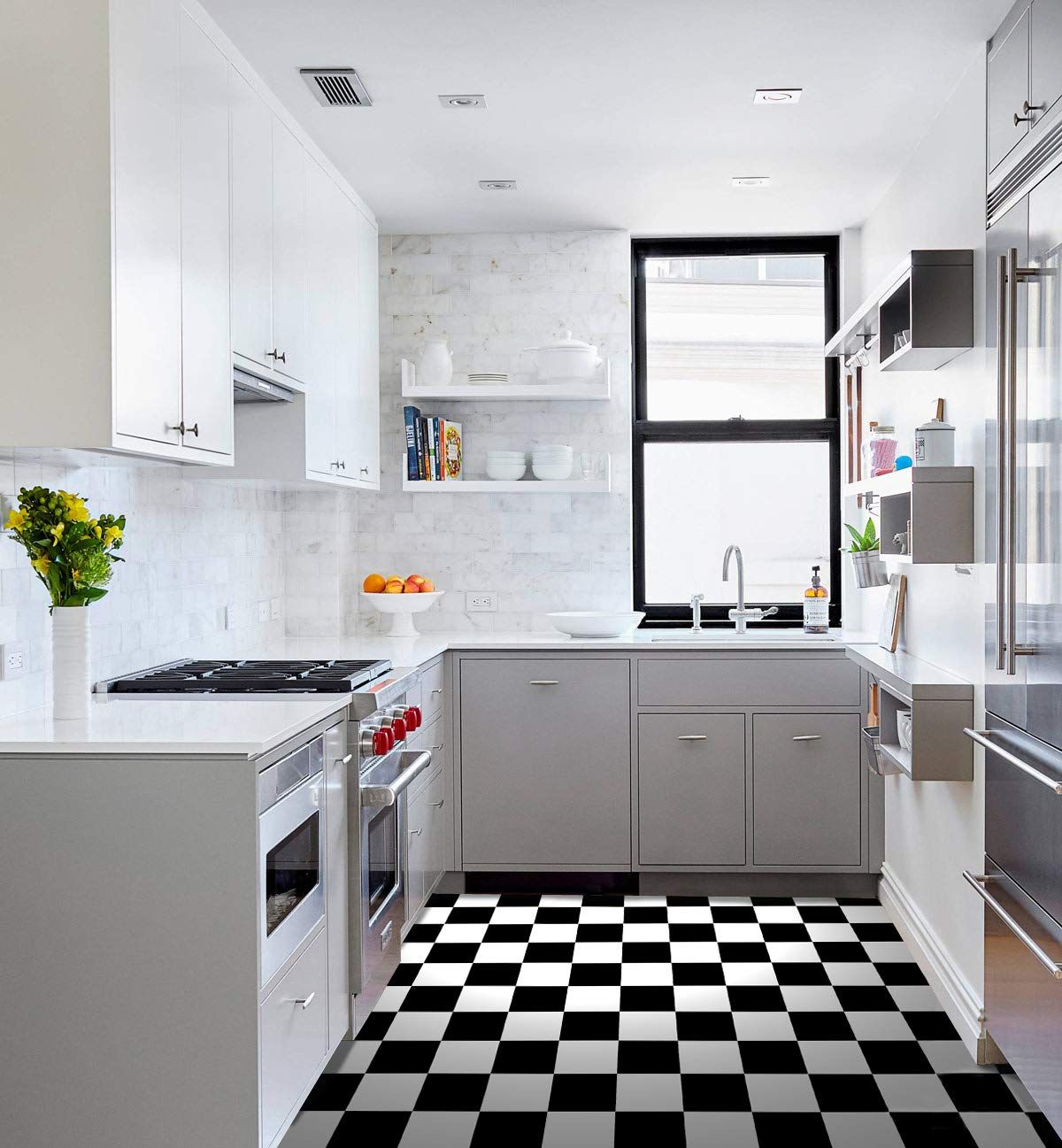 Raphael Rozen Vinyl Floor Tile 12 By 12 Inch Checkered Black And White Tile Pack Of 20 Amazon Com Black And White Tiles White Floors Flooring