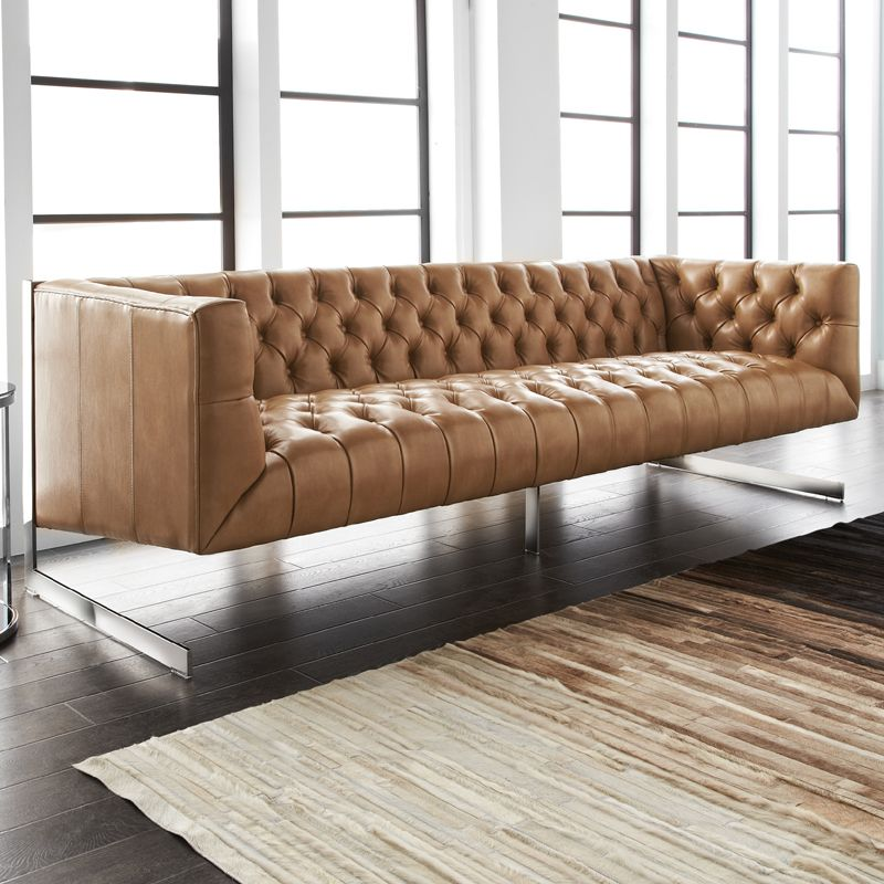 Everett Tufted Leather Settee In 2019: Viper Sofa In Tufted Peanut Leather W/ Polished Stainless