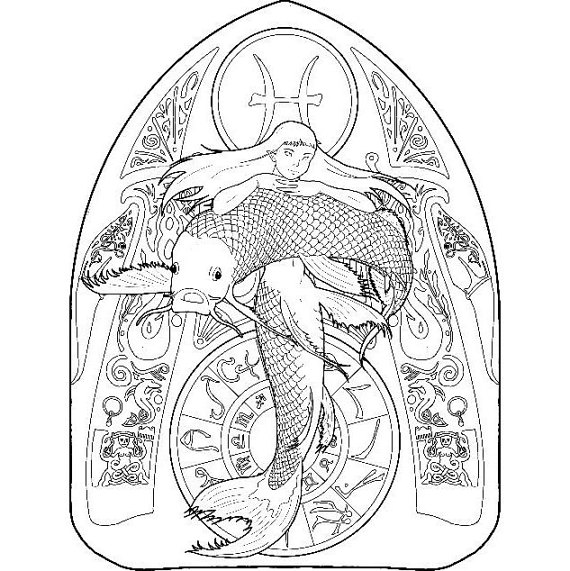 Mermaid coloring page - zodiac 12 (Pisces) Zodiac, Colored pencils - fresh chinese new year zodiac coloring pages