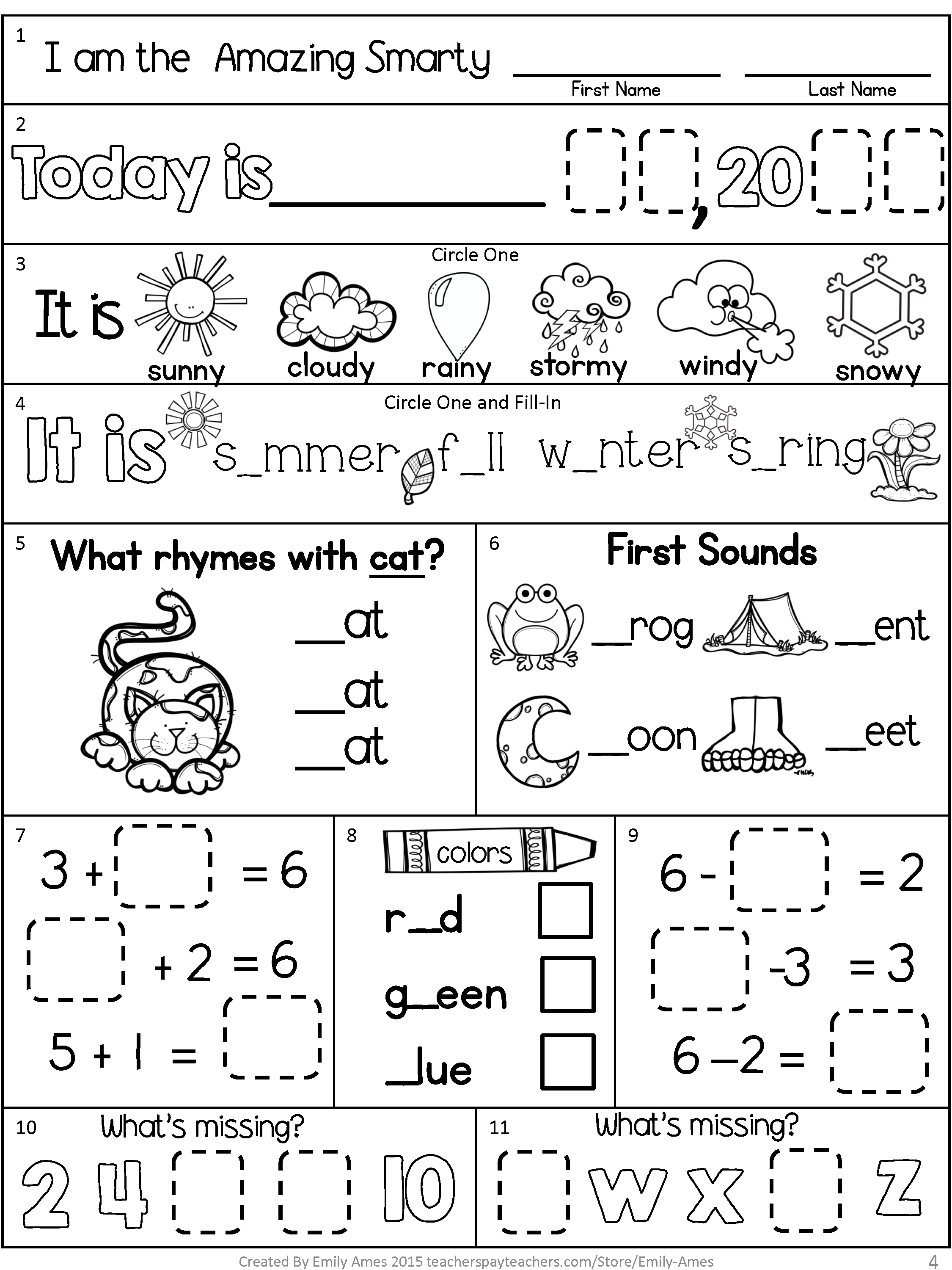 September Morning Work For First Grade Inlcudes Practice Of Addition Subtraction Skip Counting L Morning Work Freebie Kindergarten Morning Work Morning Work [ 3000 x 2250 Pixel ]